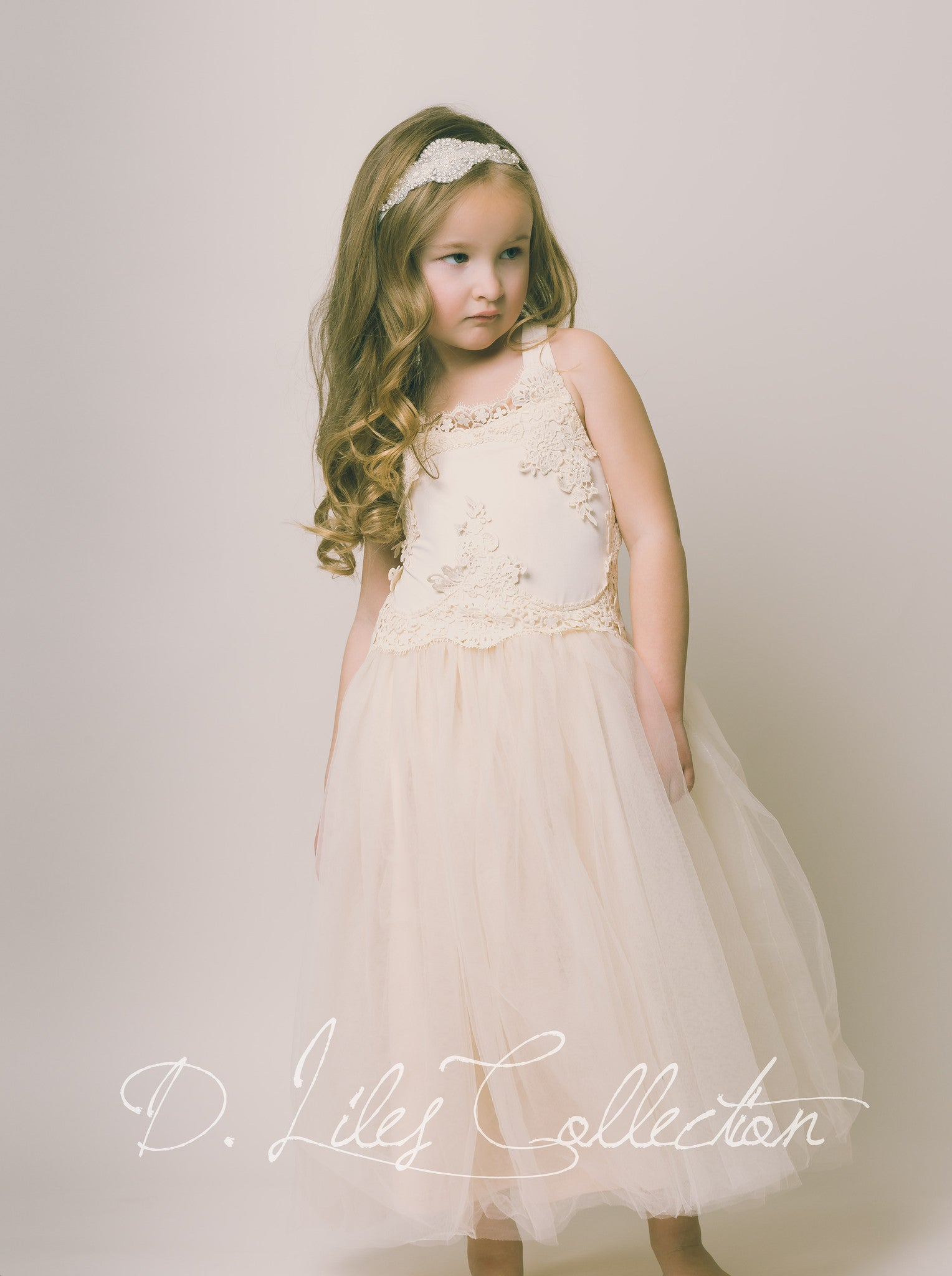 Rustic Vintage Lace Evangeline Flower Girl Dress D Liles
