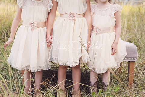 Charlotte Flower Girl Dress in Vintage beige