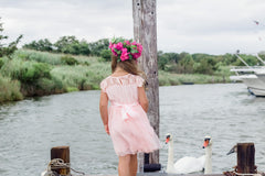 Charlotte Pink Lace Flower Girl Dress