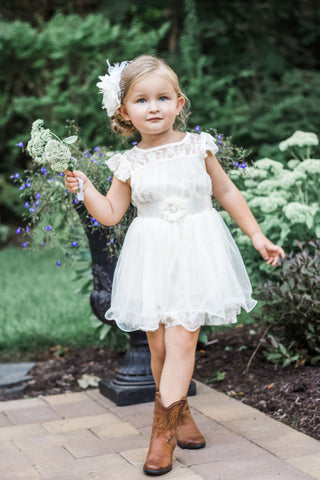 Charlotte Ivory Lace Flower Girl Dress