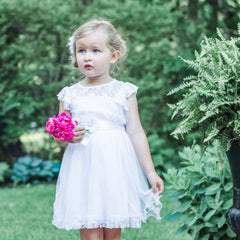 Charlotte Lace Flower Girl Dress in White