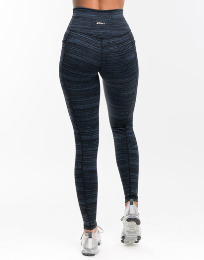Echt Essentia Pocket Leggings - Blue Stripe