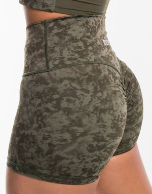 Echt Stealth Scrunch Shorts - Army Green