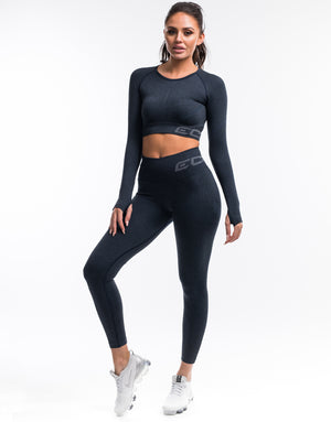 Arise Scrunch Crop Top - Navy
