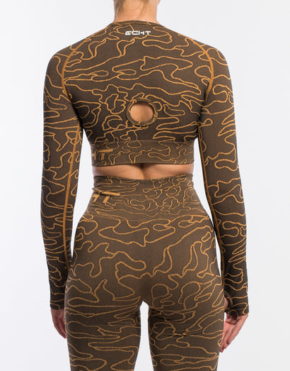 Arise Camo Cropped Long Sleeve - Bronze