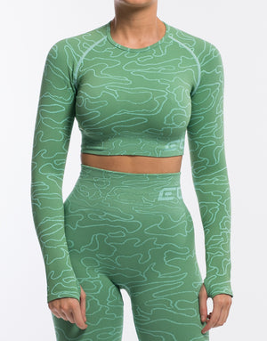 Arise Camo Cropped Long Sleeve - Kashmir Green