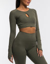 Echt Flex Cropped Long Sleeve - Olive Stripe