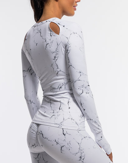 Echt Marble Long Sleeve - White