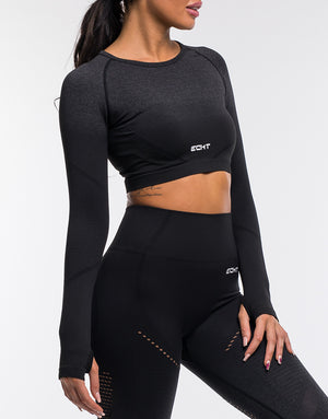 Arise Ombre Cropped Long Sleeve - Black