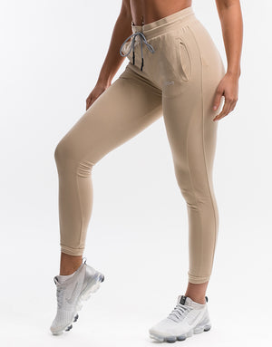 Ladies Mesh Joggers - Smoke Tan