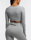 Echt Flex Cropped Long Sleeve - Grey Stripe