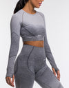 Arise Ombre Cropped Long Sleeve - Charcoal