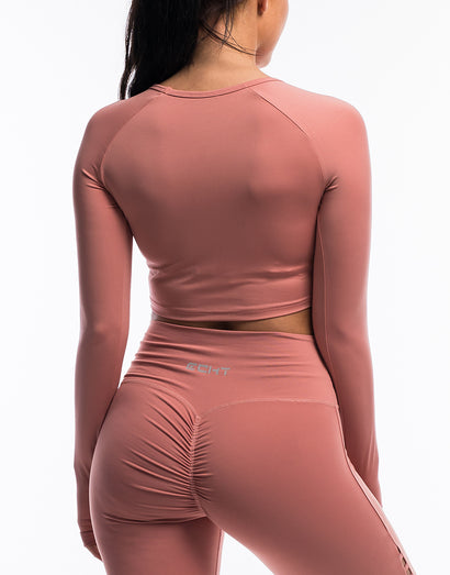 Echt Scrunch Cropped Long Sleeve - Dusty Pink