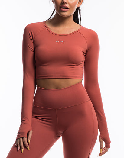 Echt Scrunch Cropped Long Sleeve - Garnet