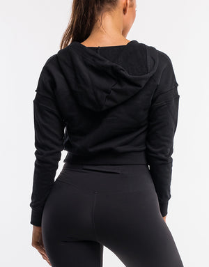 On The Fly Cropped Zip-Up - Black