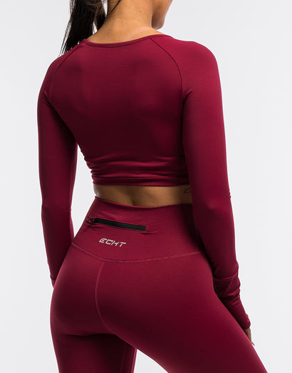Echt Flex Cropped Long Sleeve - Red Stripe
