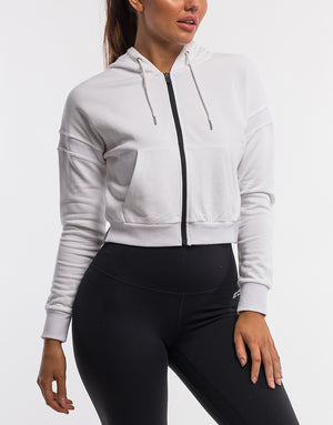 On The Fly Cropped Zip-Up - White