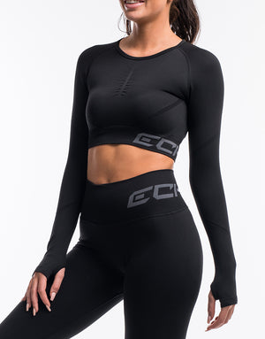 Arise Scrunch Crop Top - Black