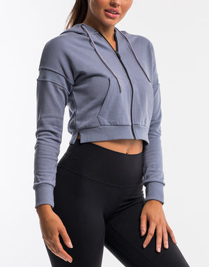 On The Fly Cropped Zip-Up - Quicksilver