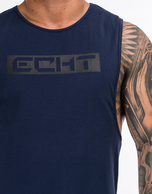 Echt Stencil Muscle Top - Navy
