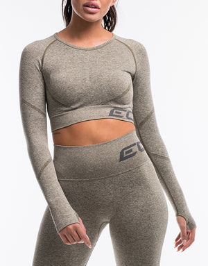 Arise Scrunch Crop Top - Khaki