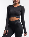 Arise Scrunch Crop Top - Pirate Black