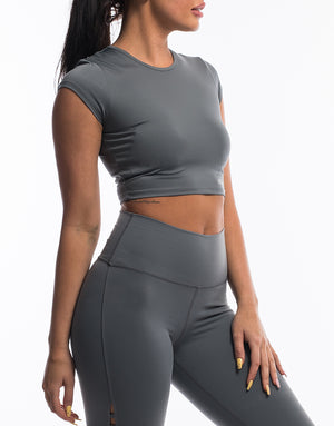 Echt Scrunch Cropped Tee - Gun Metal