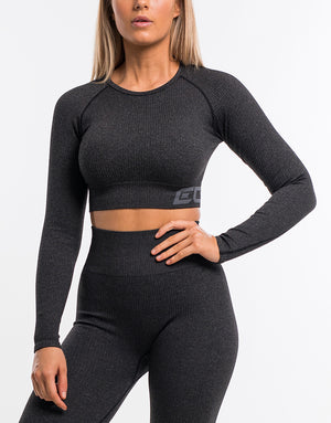 Arise Comfort Cropped Long Sleeve - Pirate Black