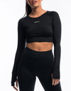 Echt Scrunch Cropped Long Sleeve - Black