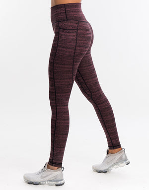 Echt Essentia Pocket Leggings - Berry Stripe