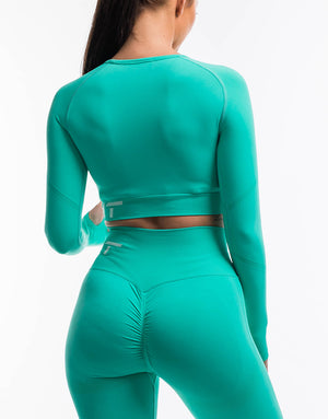 Arise Scrunch Crop Top - Aqua