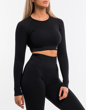 Arise Comfort Cropped Long Sleeve - Black