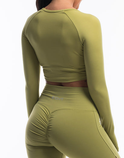Echt Scrunch Cropped Long Sleeve - Lime