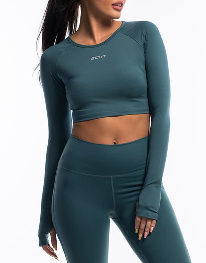 Echt Scrunch Cropped Long Sleeve - Teal