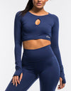 Echt Flex Cropped Long Sleeve - Navy Stripe