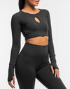 Echt Flex Cropped Long Sleeve - Black Stripe