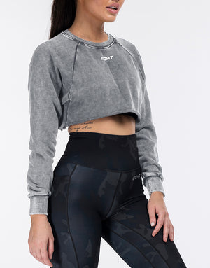 Echt Wash Cropped Jumper - Charcoal