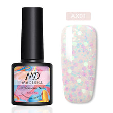 Load image into Gallery viewer, MAD DOLL 8ml UV Gel Nail Polish Rose Gold Glitter Sequins Soak Off UV Gel Varnish Color Nail Gel Polish DIY Nail Art varnish