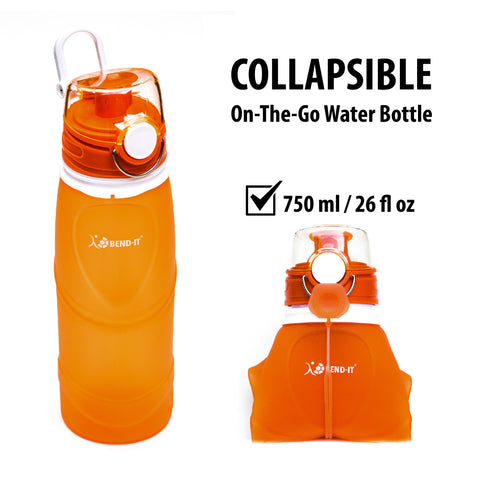 Bend-It Sports, Silicone Collapsible Water Bottle (Orange)