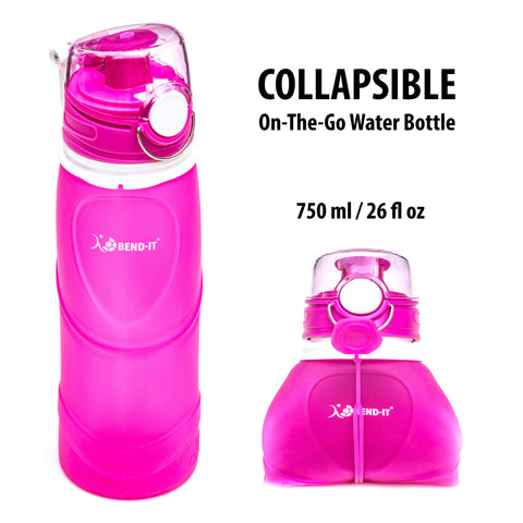 Bend-It Sport, Silicone Collapsible Water Bottle (Pink)