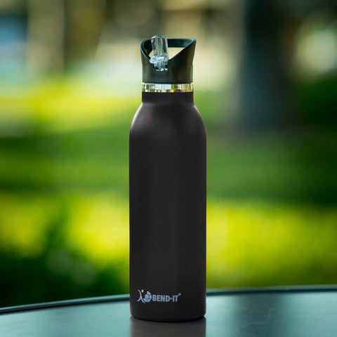Bend-It The Coldest Water Bottle, Stainless Steel Sports Water Bottle Black