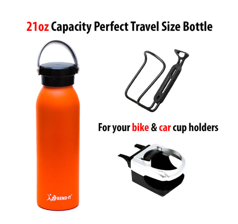 Bend-It The Coldest Water Bottle, Stainless Steel Sports Water Bottle Orange