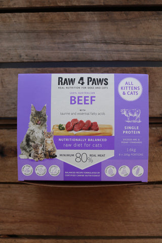 Raw 4 Paws Cat Beef chubs 1.6kgs (200g x 8)