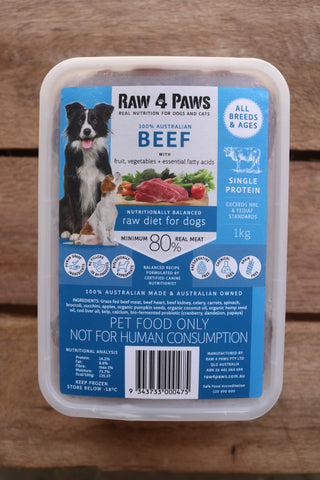 Raw 4 Paws Beef 1kg Container