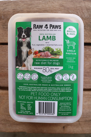 Raw 4 Paws Lamb 1kg Container