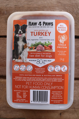 Raw 4 Paws Turkey 1kg Container