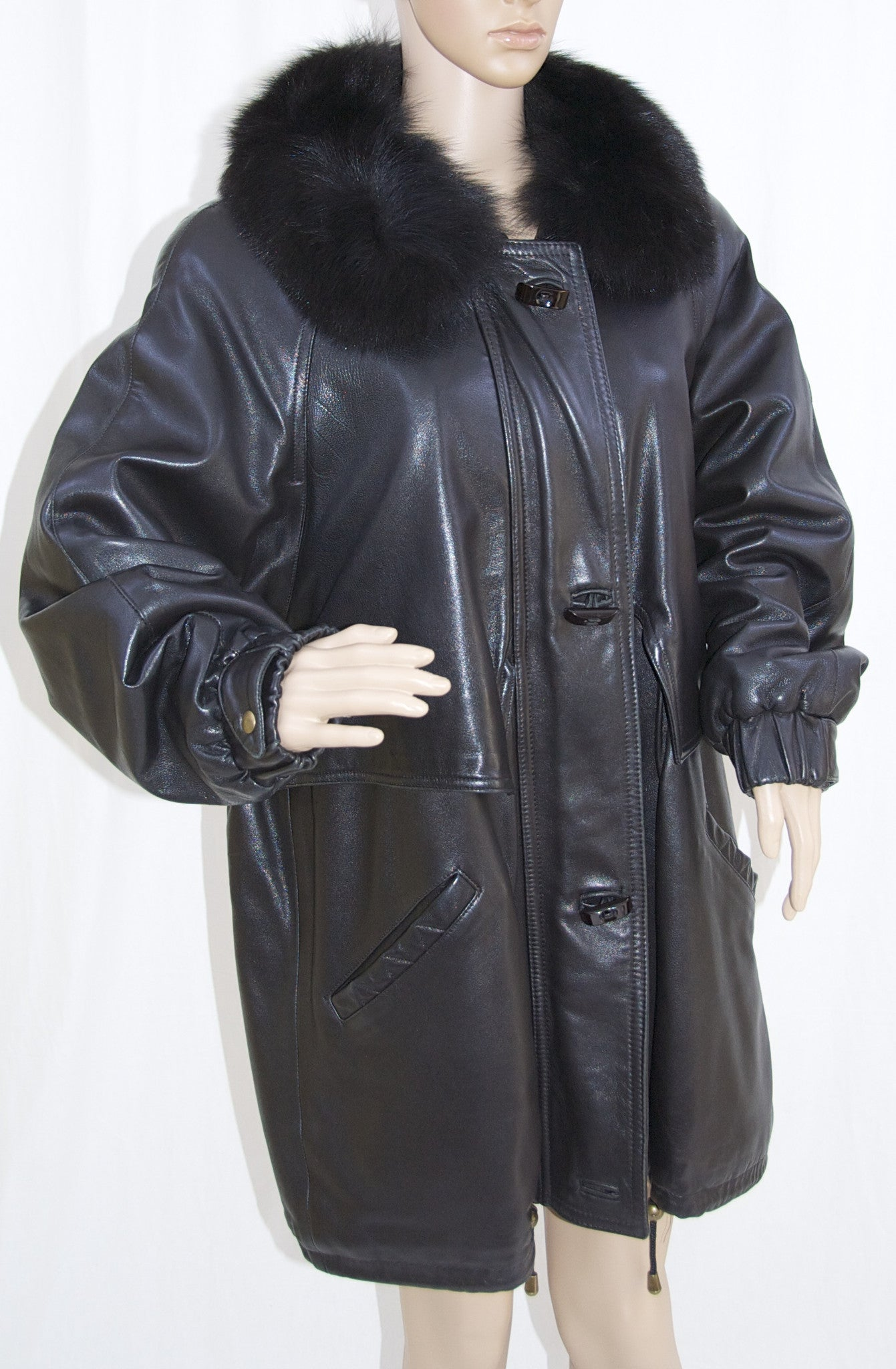 J. Percy for Marvin Richards Vintage Black Leather Coat with Fur ...