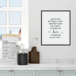 Wash the plate because you love the person who will use it next: Kitchen wall art by Culver and Cambridge