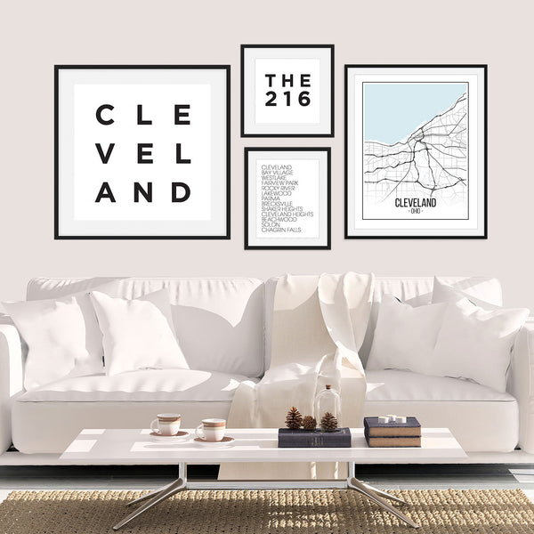 The Cleveland Gallery Wall - featuring four Cleveland Wall Art Prints from Culver and Cambridge