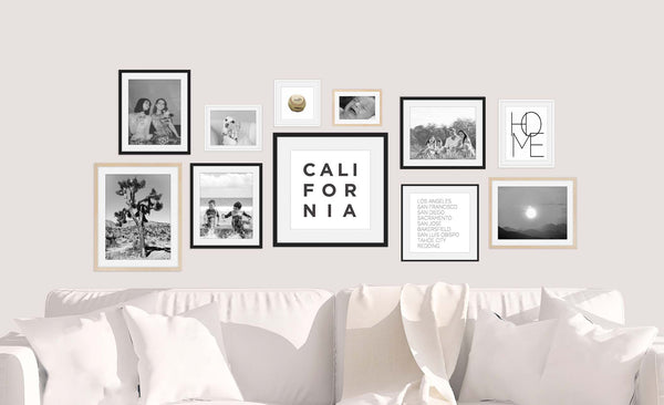 The Free Flow Gallery Wall - a variety of frames and sizes that fit together. Featuring Minimalist Wall Art by Culver and Cambridge